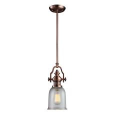 Chadwick 1 Light Pendant In Antique Copper And Halophane Glass