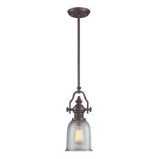 Chadwick 1 Light Pendant In Oiled Bronze And Halophane Glass
