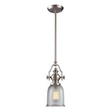 Chadwick 1 Light Pendant In Satin Nickel And Halophane Glass