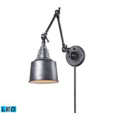 Insulator Glass 1 Light Led Swingarm Sconce In Weathered Zinc