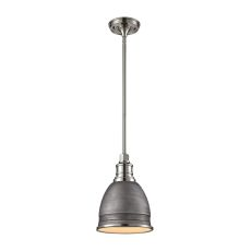 Carolton 1 Light Pendant In Weathered Zinc And Polished Nickel