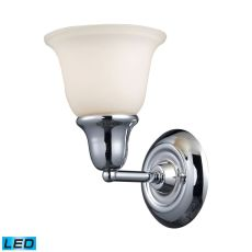 Berwick 1 Light Led Wall Sconce In Polished Chrome And White Glass