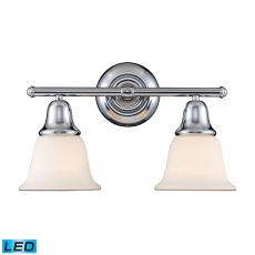 Berwick 2 Light Led Vanity In Polished Chrome And White Glass