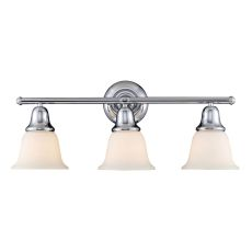 Berwick 3 Light Vanity In Polished Chrome And White Glass