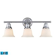 Berwick 3 Light Led Vanity In Polished Chrome And White Glass