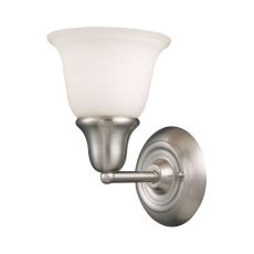 Berwick 1 Light Wall Sconce In Brushed Nickel And White Glass