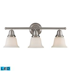 Berwick 3 Light Led Vanity In Brushed Nickel And White Glass