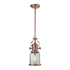 Chadwick 1 Light Pendant In Antique Copper And Seeded Glass