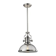 Chadwick 1 Light Pendant In Polished Nickel And Seeded Glass