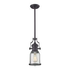 Chadwick 1 Light Pendant In Oil Rubbed Bronze And Seeded Glass