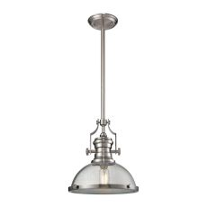 Chadwick 1 Light Pendant In Satin Nickel And Seeded Glass