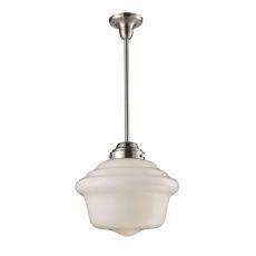 Schoolhouse Pendants 1 Light Pendant In Satin Nickel And White Glass