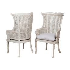 Caned Wing Back Chair, Gray