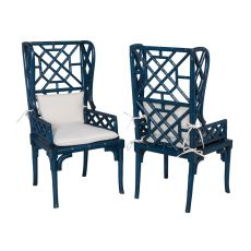 Bamboo Wing Back Chair, Blue