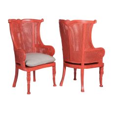 Caned Wing Back Chairs - Set Of 2, Red
