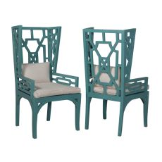 Manor Wing Chairs In Deep Teal - Set Of 2, Teal