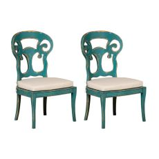 Verona Club Side Chairs In Crossroads Cyan With Muslin Cushions - Set Of 2