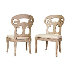 Verona Club Side Chairs In Crossroads Rosa With Muslin Cushions, Cream