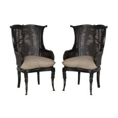 Caned Wingback Chair, Black