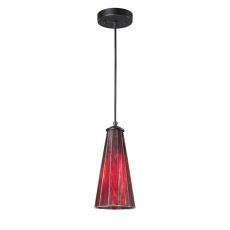 Lumino 1 Light Pendant In Matte Black And Inferno Red