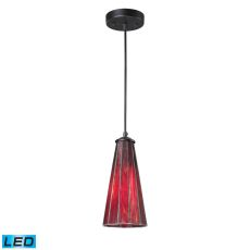 Lumino 1 Light Led Pendant In Matte Black And Inferno Red