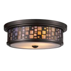 Tiffany Flushes 2 Light Flushmount In Oiled Bronze And Tea Stained Glass
