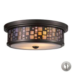 Tiffany Flushes 2 Light Flushmount In Oiled Bronze And Tea Stained Glass - Includes Recessed Lighting Kit