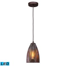 Dimensions 1 Light Led Pendant In Burnished Copper And Tea Stained Glass