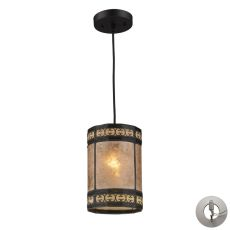 Mica Filigree 1 Light Pendant In Tiffany Bronze And Tan Mica - Includes Recessed Lighting Kit