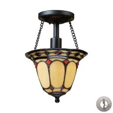 Diamond Ring 1 Light Semi Flush In Burnished Copper - Includes Recessed Lighting Kit