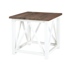 Square Stick Tables In Natural And Handpainted White, Natural, White