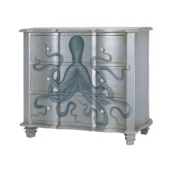 Gorgon Octopus Chest In Silver Leaf And Blue
