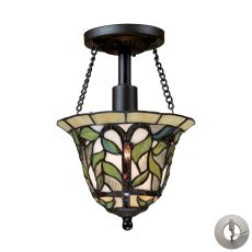 Latham 1 Light Semi Flush In Tiffany Bronze - Includes Recessed Lighting Kit
