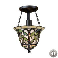 Latham 1 Light Semi Flush In Tiffany Bronze - Includes Recessed Lighting Kit