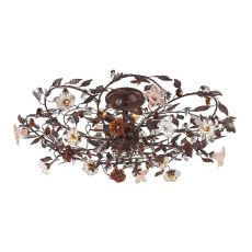 Cristallo Fiore 6 Light Flushmount In Deep Rust With Crystal Florets