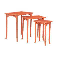 Loft Bamboo Nesting Tables In Loft Tangerine - Set Of 3, Loft Tangerine