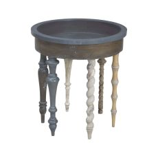 Artifacts Round Side Table In Antique Smoke, Antique Smoke