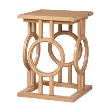 Circle Cut Out Accent Table, Blonde