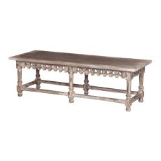 Coffee Table/Bench With Ornamental Apron, White