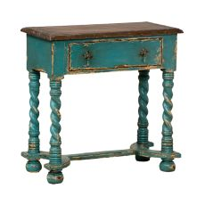 Barley Twist Side Table, Crossroads Cyan