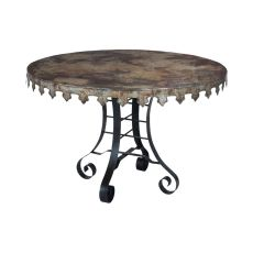 Reclaimed Tin 47-Inch Bistro Table, Natural Reclaimed Tin, Rusty Black