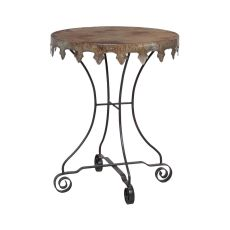 Reclaimed Tin 24-Inch Bistro Table, Natural Reclaimed Tin, Rusty Black