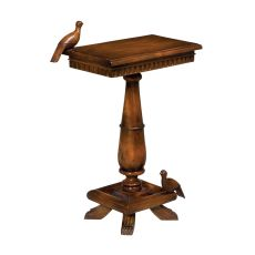 Socle Table With Birds, Woodtone