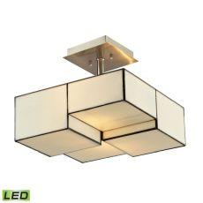 Cubist 2 Light Led Semi Flush In Brushed Nickel