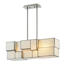 Cubist 4 Light Chandelier In Brushed Nickel
