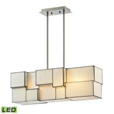 Cubist 4 Light Led Chandelier In Brushed Nickel