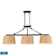 Natural Rope 3 Light Led Billiard In Aged Bronze