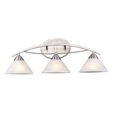 Elysburg 3 Light Vanity In Satin Nickel And White Glass