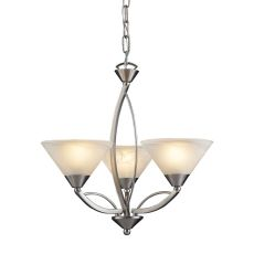 Elysburg 3 Light Chandelier In Satin Nickel And White Glass