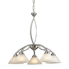 Elysburg 5 Light Chandelier In Satin Nickel And White Glass